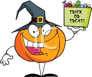 Royalty Free Clipart Image of a Pumpkin Holding a Treat Bucket