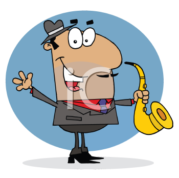 Royalty Free Clipart Image of a Man Playing a Saxophone