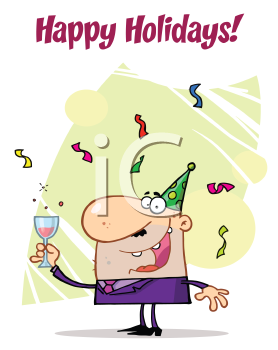 Royalty Free Clipart Image of a Man Toasting a New Year
