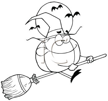 Royalty Free Clipart Image of a Pumpkin Riding a Broom