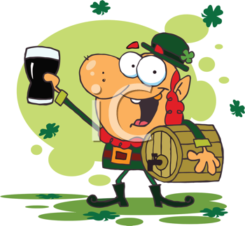 Royalty Free Clipart Image of a Leprechaun Toasting With a Glass of Beer and Holding a Cask