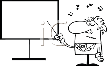 Royalty Free Clipart Image of a Music Teacher Pointing at t Board With a Baton