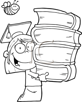 Royalty Free Clipart Image of a Girl Student With Books