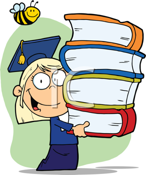 Royalty Free Clipart Image of a Girl Graduate