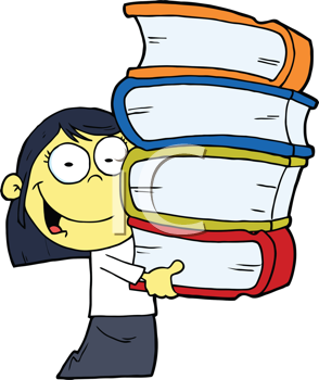 Royalty Free Clipart Image of an Asian Girl With a Stack of Books