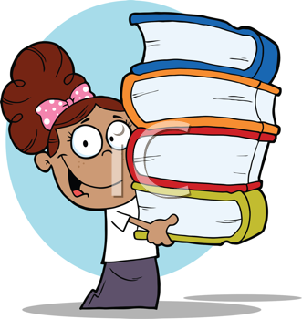 Royalty Free Clipart Image of an African American Student With Books