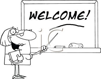 Royalty Free Clipart Image of a Teacher With Welcome on the Blackboard
