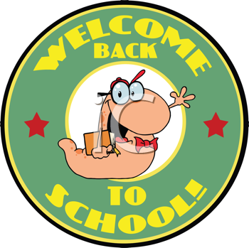 Royalty Free Clipart Image of a Bookworm Heading Back to School