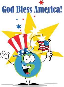 Royalty Free Clipart Image of a Gold Bless America Message With a World Waving a Flag