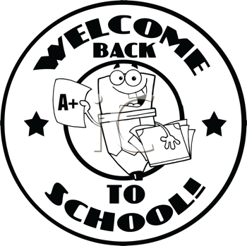 Royalty Free Clipart Image of a Back to School Badge With a Pencil Holding a Report Card and Books