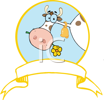Royalty Free Clipart Image of a Cow Eating a Daisy