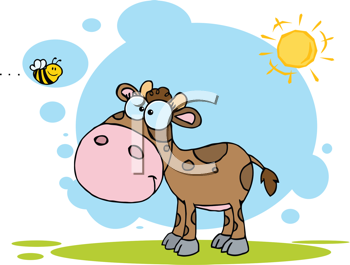 Royalty Free Clipart Image of a Calf Looking at a Bee