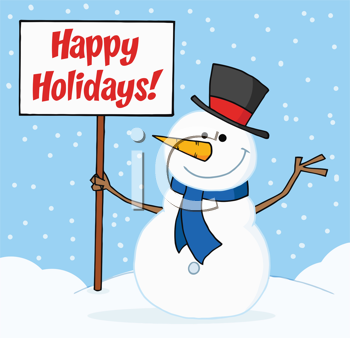 Royalty Free Clipart Image of a Happy Holidays Greeting With a Snowman