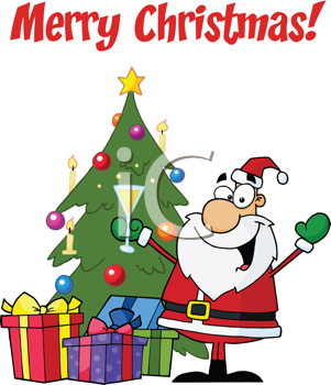 Royalty Free Clipart Image of Santa With a Tree on a Merry Christmas Greeting