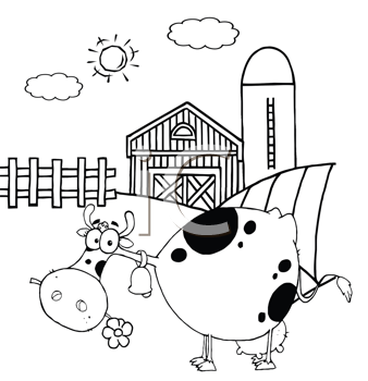 Royalty Free Clipart Image of a Cow in a Barnyard With a Daisy