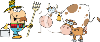 Royalty Free Clipart Image of a Farmer, Cow and Calf