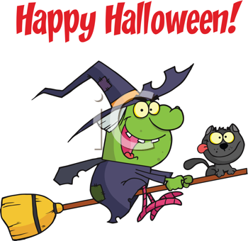 Royalty Free Clipart Image of a Witch and a Cat on a Broom For Happy Halloween