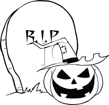 Royalty Free Clipart Image of an RIP Gravestone and Jack-o-Lantern