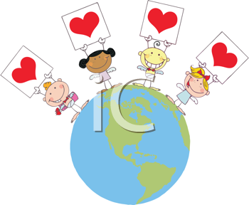 Royalty Free Clipart Image of Four Angels Holding Hearts on the World