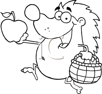 Royalty Free Clipart Image of a Hedgehog Running With Apples and a Basket