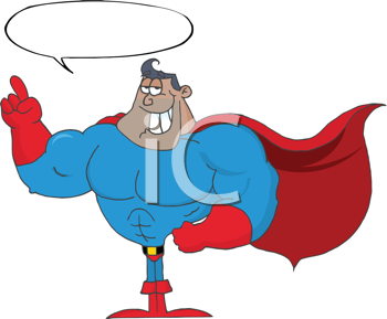 Royalty Free Clipart Image of a Superhero With a Speech Bubble