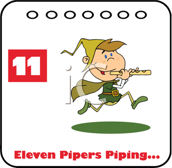 Royalty Free Clipart Image of an 11 Pipers Piping Page of a 12 Days of Christmas Calendar