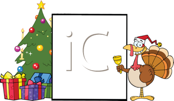 Royalty Free Clipart Image of a Turkey With a Blank Sign Beside a Christmas Tree