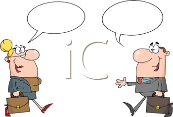 Royalty Free Clipart Image of Man and Woman Greeting Each Other