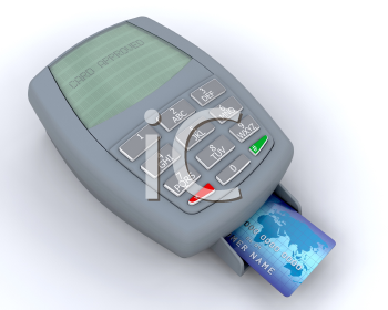 Royalty Free Clipart Image of a Credit Card in a Machine Showing Approved