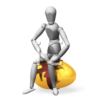 Royalty Free Clipart Image of a Person Sitting on Top of an Egg