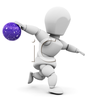 Royalty Free Clipart Image of a Person Throwing a Bowling Ball