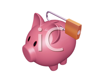 Royalty Free Clipart Image of a Piggy Bank With a Padlock
