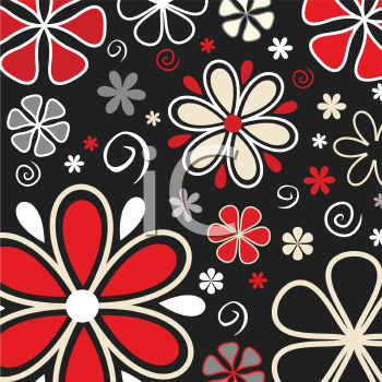 Retro styled floral background