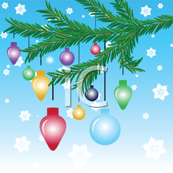 Christmas ornaments hanging off fir tree branch