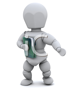 3D Render of a man with document folder