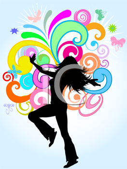 Silhouette of a funky female on a bright coloured abstract background