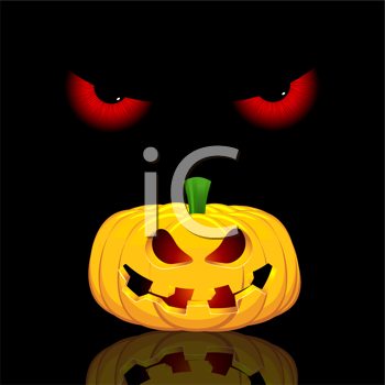 Halloween background with evil eyes and spooky jack o lantern