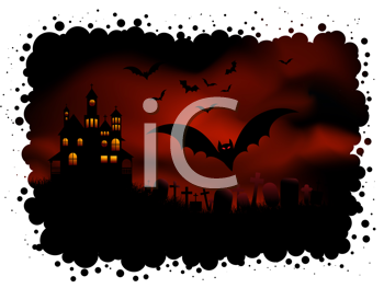Spooky Halloween background with haunted house and bats