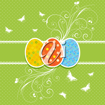 Decorative floral Easter egg background with butterflies