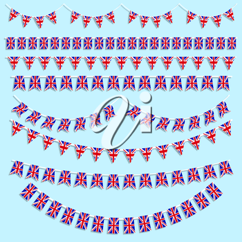 Collection of various designs of Union Jack Flag bunting and banners