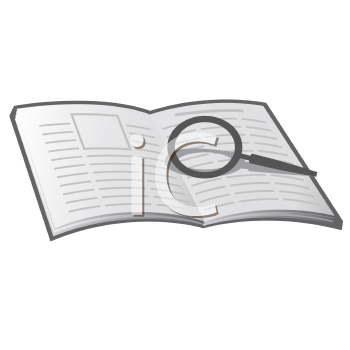 Royalty Free Clipart Image of a Book and Magnifying Glass