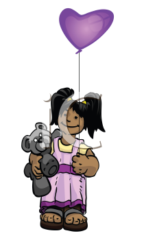 A vector illustration of a happy girl holding a teddy bear and purple balloon.