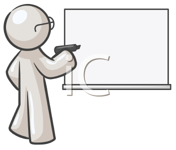 Royalty Free Clipart Image of a Guy Wearing Glasses Standing at a Blackboard