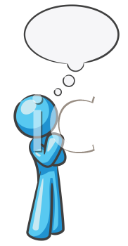 Royalty Free Clipart Image of a Blue Guy With a Thought Bubble