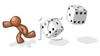 Royalty Free Clipart Image of a Brown Guy Running From Dice