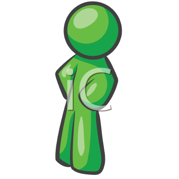 Royalty Free Clipart Image of a Green Man Standing Sideways