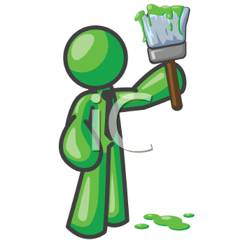 Royalty Free Clipart Image of a Green Man With a Paintbrush