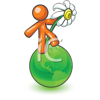 An orange man holding a large daisy while standing on top of a green earth.