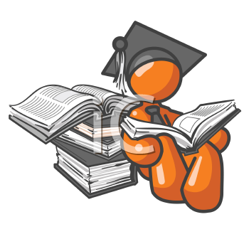 An orange man student leaning up against some books while reading.