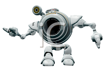 Royalty Free Clipart Image of a robot web cam web cam gesturing nicely.